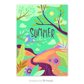 Cartaz de temporada de verão colorido
