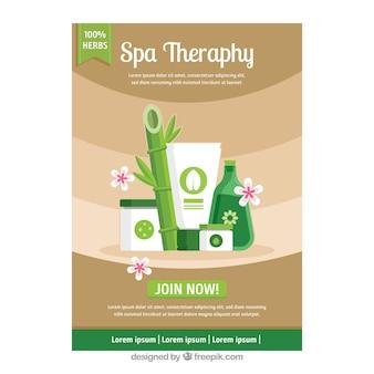 Cartaz de terapia de spa em design plano