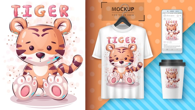 Cartaz de tigre fofo e merchandising