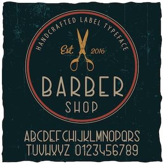 Cartaz de tipo de letra da barbearia com design de etiqueta de amostra em pó