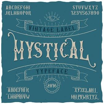 Cartaz de tipo de letra de etiqueta mística, bom para usar em qualquer etiqueta de estilo vintage
