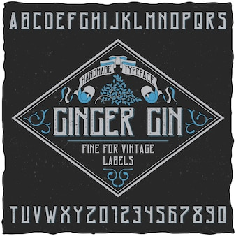 Cartaz de tipo de letra ginger gin