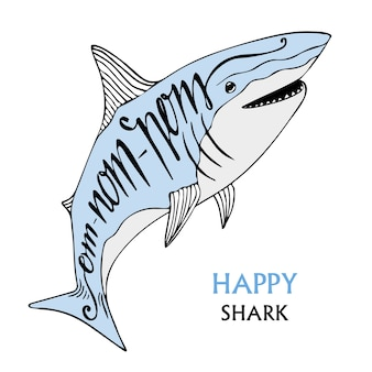 Cartaz de tipografia com tubarão fofo. ilustração desenhada mão do vetor