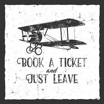 Cartaz de tipografia de avião vintage. design retro em fundo retrô