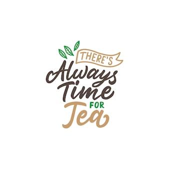 Cartaz de tipografia de citações de chá