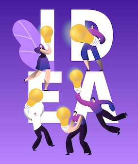 Cartaz de tipografia de personagem de bulbo de inspiração de ideia criativa.