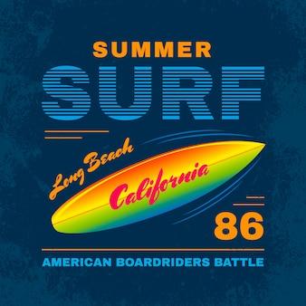 Cartaz de tipografia de surf de verão