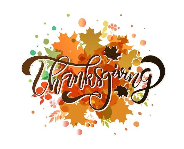 Cartaz de tipografia desenhada de mão de ação de graças. citação de celebração