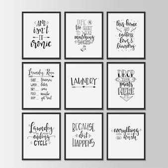 Cartaz de tipografia desenhada de mão de lavanderia. frase manuscrita conceitual casa e família, desenho caligráfico com letras à mão. letras.