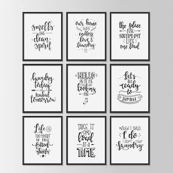 Cartaz de tipografia desenhada de mão. frase manuscrita conceitual lavanderia camiseta mão com letras desenho caligráfico. vetor inspirador