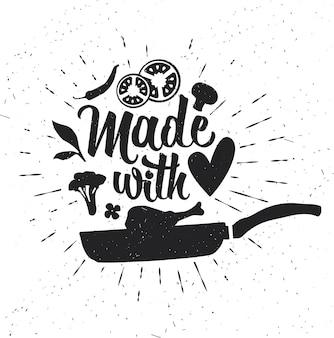 Cartaz de tipografia desenhada de mão. tipografia inspiradora. feito com amor.