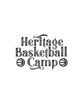 Cartaz de tipografia desenhado à mão no acampamento de basquete heritage