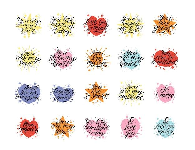 Cartaz de tipografia desenhado à mão para o dia dos namorados citações românticas em plano de fundo texturizado para cartão postal
