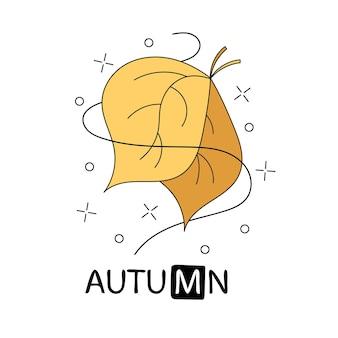 Cartaz de tipografia doodle amarelo com folha. cartão bonito dos desenhos animados no tema natural com texto de letras. ilustração em vetor outono desenhada à mão, isolada no fundo branco