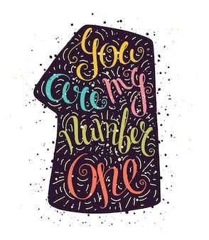 Cartaz de tipografia doodle colorido com número um e pontos.