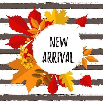 Cartaz de tipografia outono nova chegada com folhas coloridas