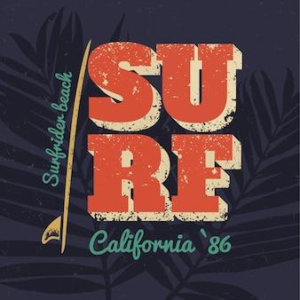 Cartaz de tipografia surf califórnia