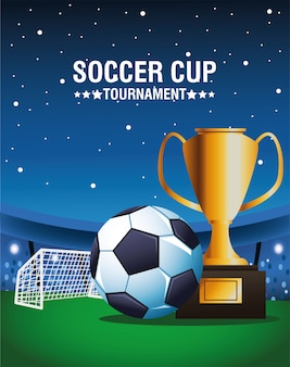 Cartaz de torneio de copa de futebol com balão e troféu vector design ilustração
