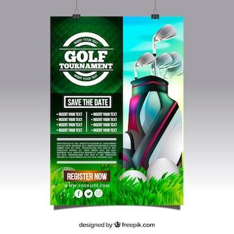 Cartaz de torneio de golfe com clubes
