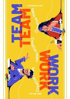 Cartaz de trabalho em equipe com empresários