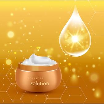 Cartaz de tubo cosmético realista ouro com creme de solução de colágeno ou essência na ilustração de fundo