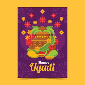 Cartaz de ugadi design plano