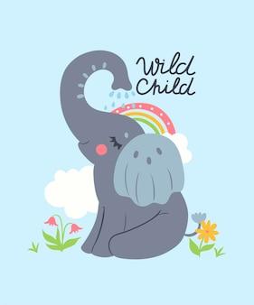 Cartaz de um berçário com um elefante bebê
