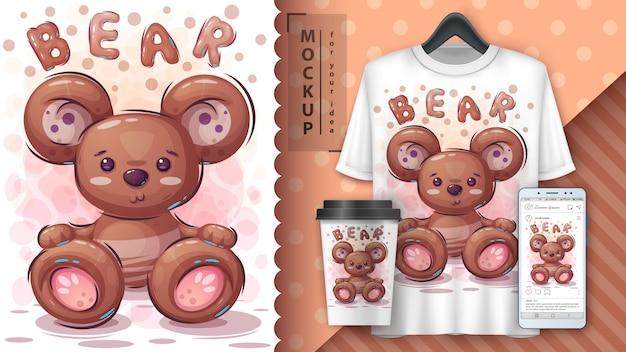 Cartaz de urso de pelúcia e merchandising