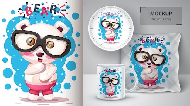 Cartaz de urso polar bonito e merchandising
