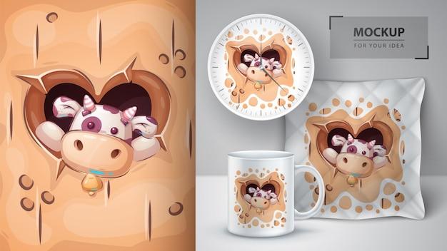 Cartaz de vaca no buraco do coração e merchandising, vetor eps 10