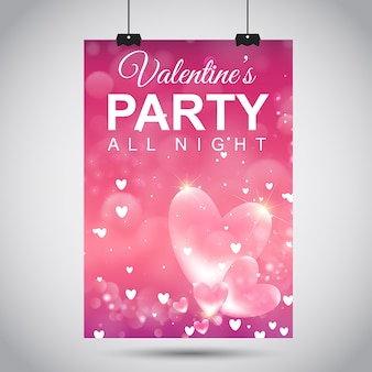 Cartaz de valentine's party do vetor