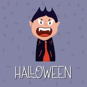 Cartaz de vampiro. conceito de halloween. ilustração vetorial em estilo simples