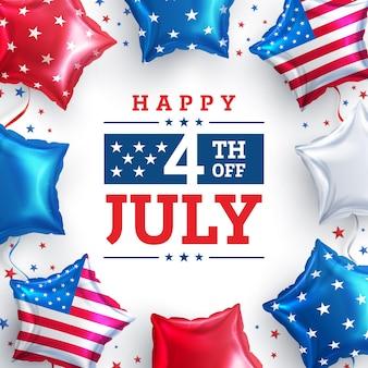 Cartaz de venda 4 de julho. celebração do dia da independência dos eua com o balão american star. modelo de banner publicitário de promoção de 4 de julho nos eua para brochuras, pôster ou banner