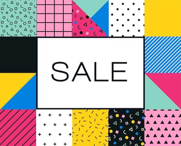 Cartaz de venda com desenho geométrico colorido de memphis