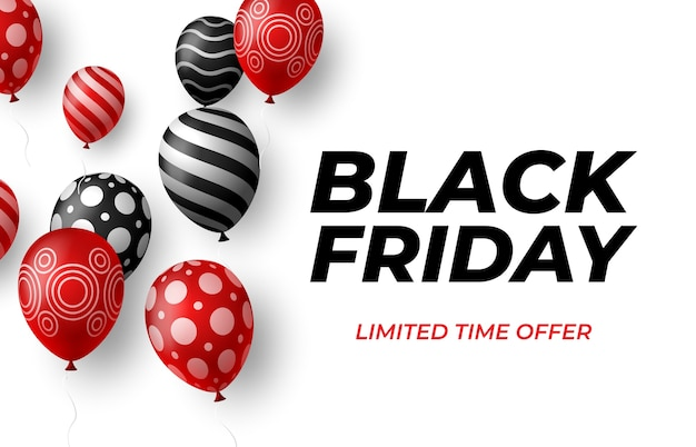 Cartaz de venda da black friday com balões brilhantes