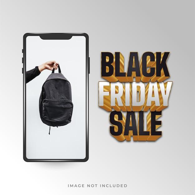 Cartaz de venda da black friday com smartphone em fundo branco