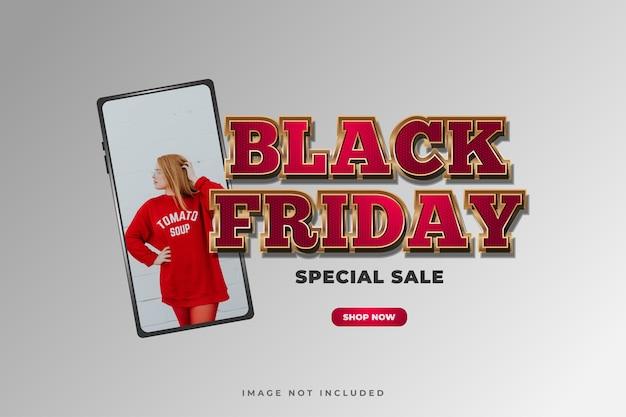 Cartaz de venda da black friday com texto de luxo e smartphone