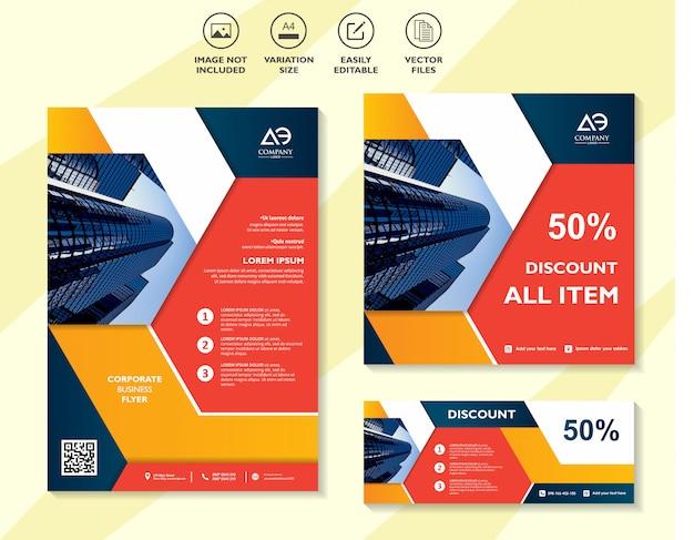 Cartaz de venda de banner folheto promocional modelo de comprovante de desconto oferta especial folheto de mercado
