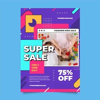 Cartaz de venda de design plano com foto