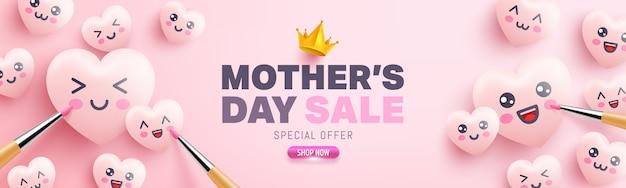 Cartaz de venda de dia das mães com corações bonitos e pintura de emoticon dos desenhos animados sobre fundo rosa. modelo de promoção e compra ou plano de fundo para o conceito de amor e dia das mães