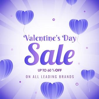 Cartaz de venda de dia dos namorados com oferta de 60% de desconto e balões de coração de papel origami roxo decorados em raios brilhantes.
