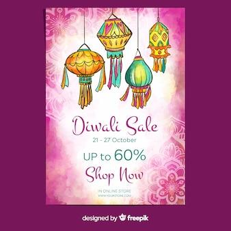 Cartaz de venda de diwali com aquarela