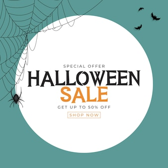 Cartaz de venda de halloween azul com morcego e aranha. ilustração vetorial eps10