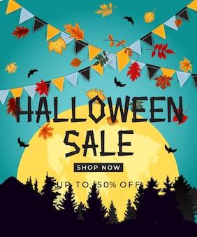 Cartaz de venda de halloween com bandeiras e festão em fundo roxo. ilustração vetorial eps10
