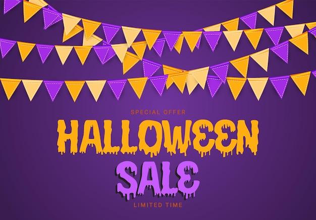 Cartaz de venda de halloween com bandeiras e festão sobre fundo azul. ilustração vetorial