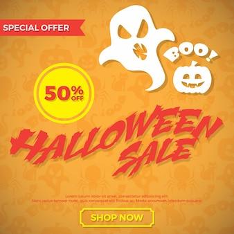 Cartaz de venda de halloween. ilustração vetorial.