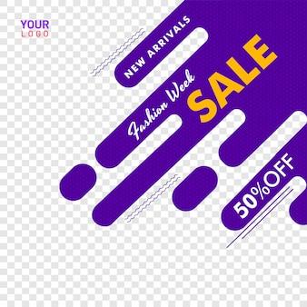 Cartaz de venda de moda semana ou banner design, 50% de desconto em oferta