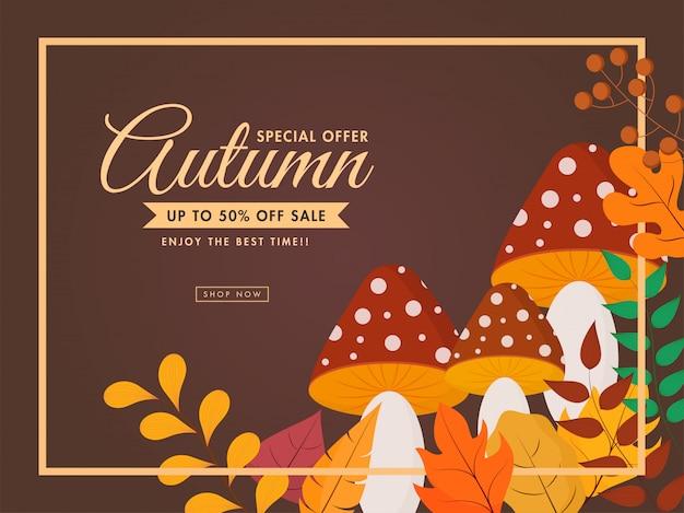 Cartaz de venda de outono, folhas coloridas, cogumelo e ramo de baga decorado em fundo marrom.