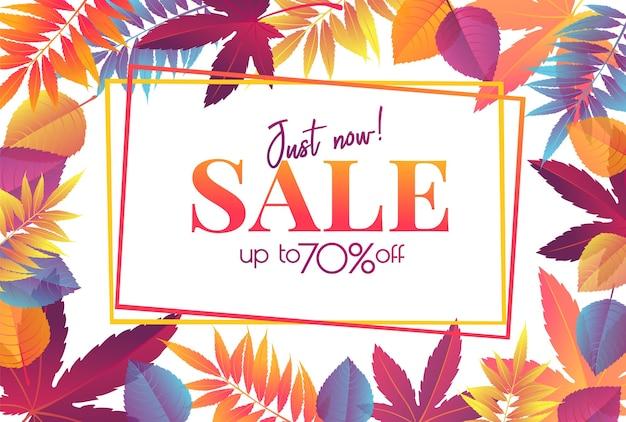 Cartaz de venda de outono ou banner com folhas de outono brilhantes, design de promoção de outono.