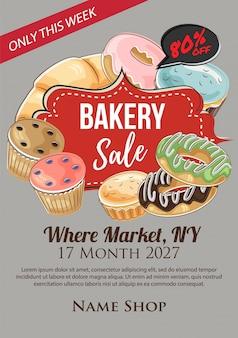 Cartaz de venda de padaria em estilo desenhado à mão